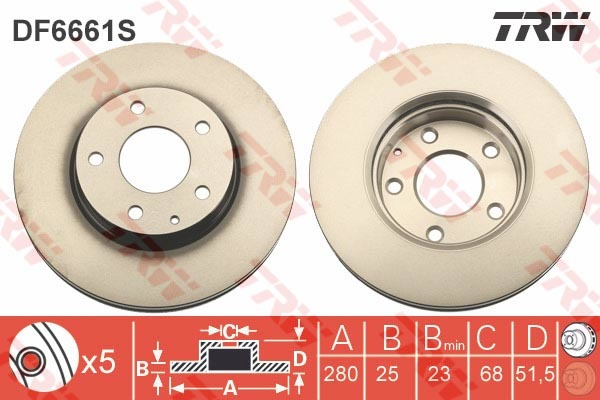 Диск тормозной передний TRW/Lucas DF6661SDF6661S