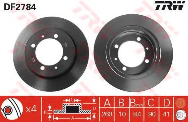 Диск тормозной TRW/Lucas DF2784 комплект 2 штDF2784