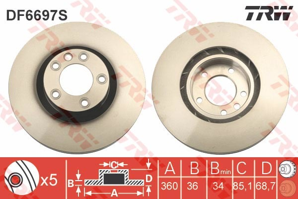 Диск тормозной передний левый TRW/Lucas DF6697SDF6697S