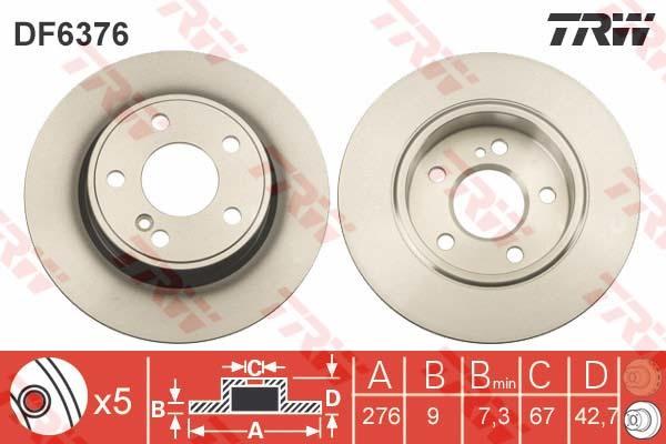 Диск тормозной задний TRW/Lucas DF6376 комплект 2 штDF6376