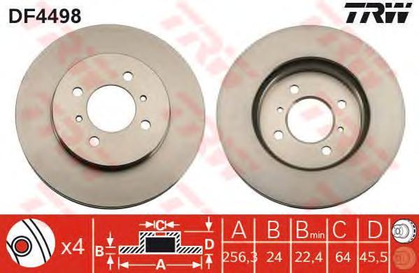 Диск тормозной TRW/Lucas DF4498 комплект 2 штDF4498