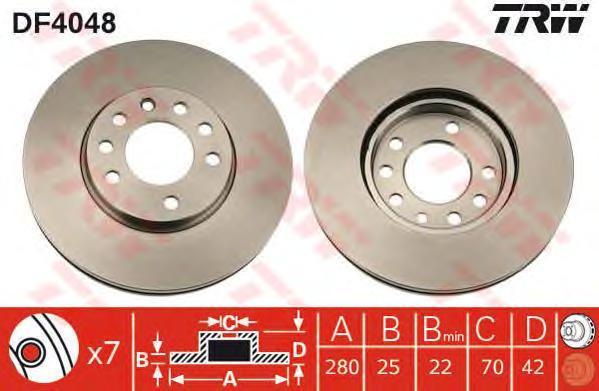 Диск тормозной TRW/Lucas DF4048 комплект 2 штDF4048
