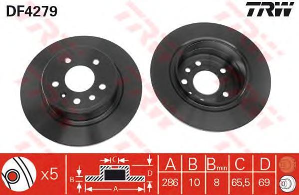 Диск тормозной TRW/Lucas DF4279 комплект 2 штDF4279