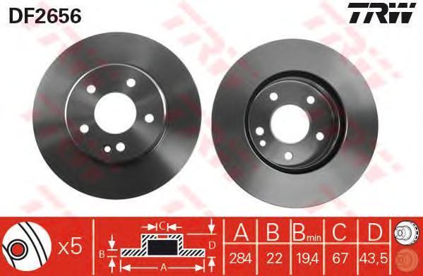 Диск тормозной TRW/Lucas DF2656 комплект 2 штDF2656