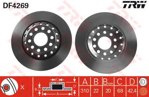Диск тормозной TRW/Lucas DF4269 комплект 2 штDF4269