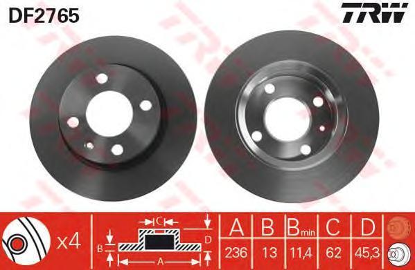 Диск тормозной TRW/Lucas DF2765 комплект 2 штDF2765