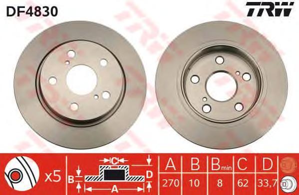 Диск тормозной TRW/Lucas DF4830 комплект 2 штDF4830