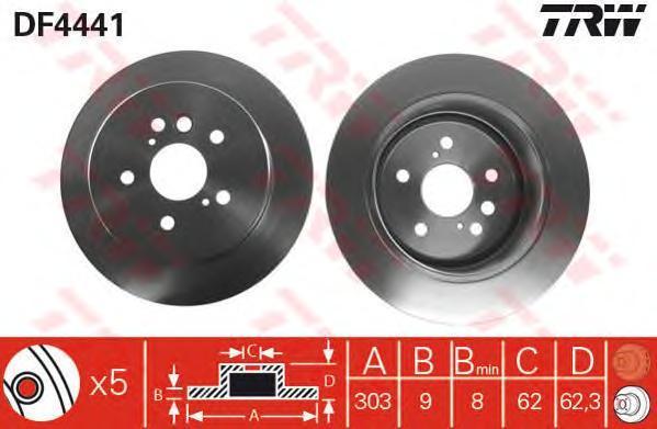 Диск тормозной TRW/Lucas DF4441 комплект 2 штDF4441