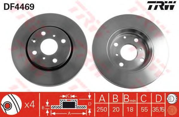 Диск тормозной TRW/Lucas DF4469 комплект 2 штDF4469