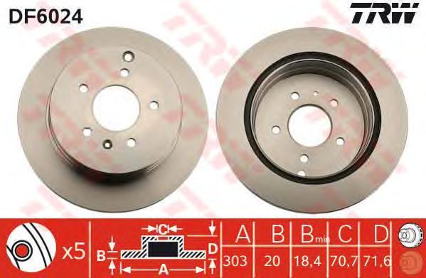 Диск тормозной TRW/Lucas DF6024 комплект 2 штDF6024