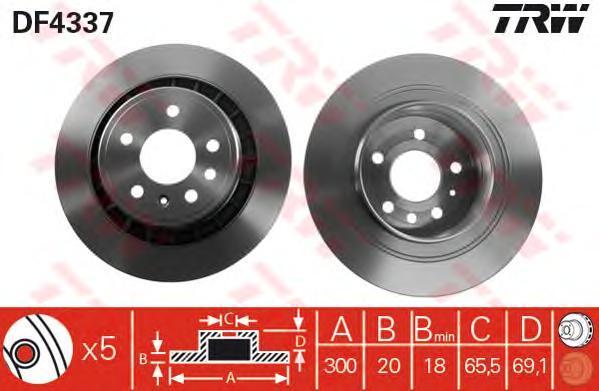 Диск тормозной TRW/Lucas DF4337 комплект 2 штDF4337