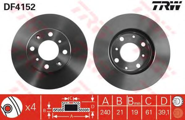 Диск тормозной TRW/Lucas DF4152 комплект 2 штDF4152