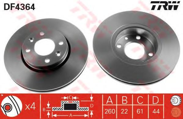 Диск тормозной TRW/Lucas DF4364 комплект 2 штDF4364