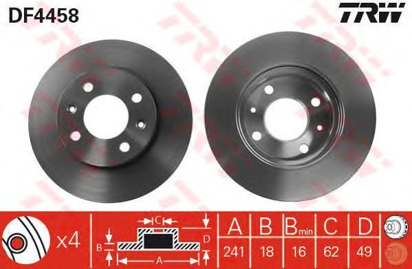 Диск тормозной TRW/Lucas DF4458 комплект 2 штDF4458