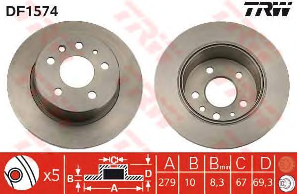 Диск тормозной TRW/Lucas DF1574 комплект 2 штDF1574