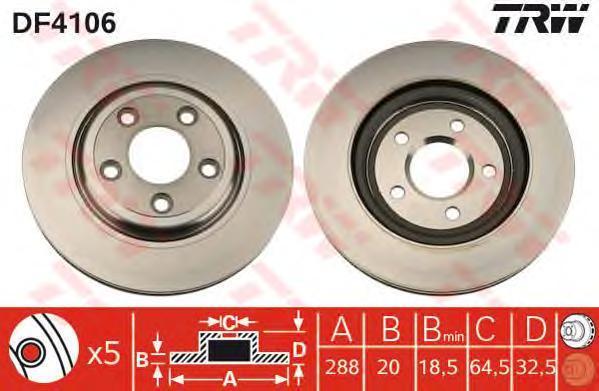 Диск тормозной TRW/Lucas DF4106 комплект 2 штDF4106
