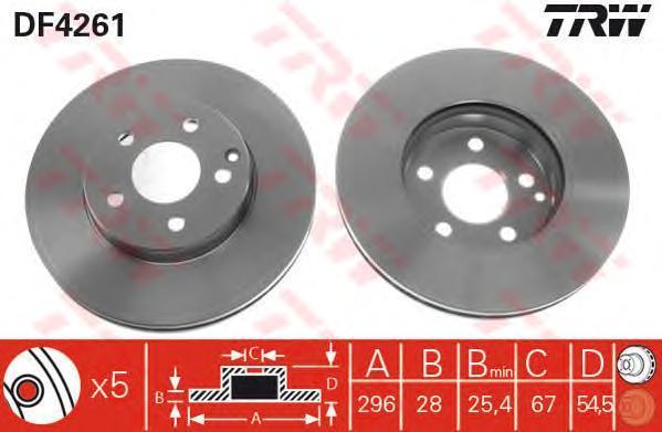 Диск тормозной TRW/Lucas DF4261 комплект 2 штDF4261