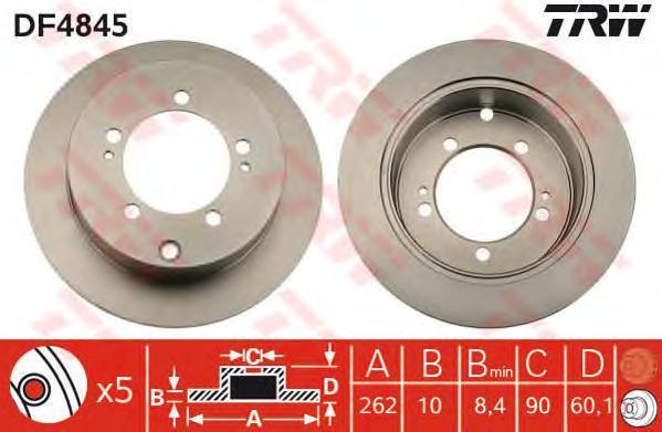 Диск тормозной TRW/Lucas DF4845 комплект 2 штDF4845