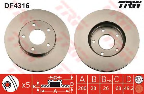 Диск тормозной TRW/Lucas DF4316 комплект 2 штDF4316