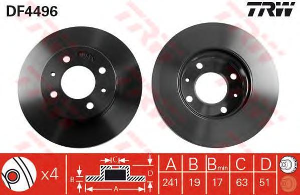 Диск тормозной TRW/Lucas DF4496 комплект 2 штDF4496