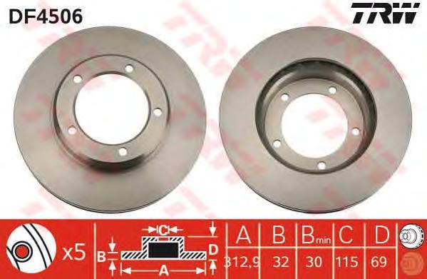 Диск тормозной TRW/Lucas DF4506 комплект 2 штDF4506