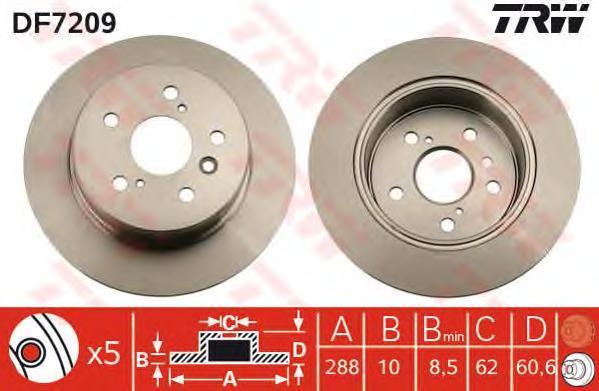 Диск тормозной к-т TRW/Lucas DF7209 комплект 2 штDF7209
