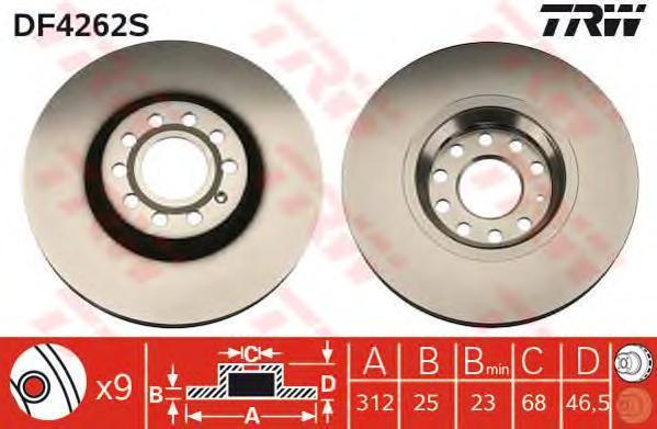 Диск тормозной TRW/Lucas DF4262S комплект 2 штDF4262S