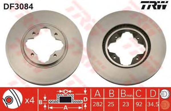 Диск тормозной TRW/Lucas DF3084 комплект 2 штDF3084