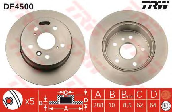 Диск тормозной TRW/Lucas DF4500 комплект 2 штDF4500