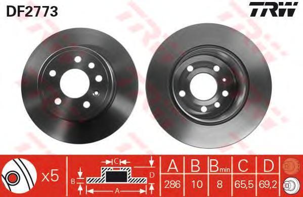 Диск тормозной TRW/Lucas DF2773 комплект 2 штDF2773