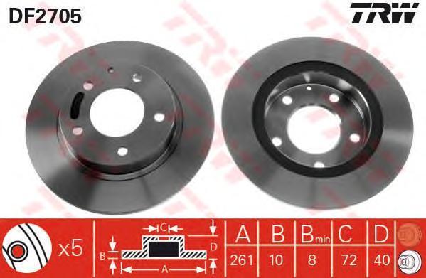 Диск тормозной TRW/Lucas DF2705 комплект 2 штDF2705