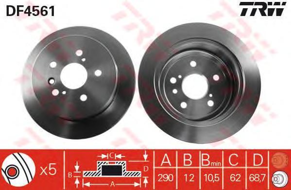 Диск тормозной TRW/Lucas DF4561 комплект 2 штDF4561