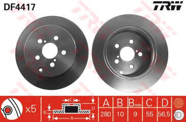 Диск тормозной TRW/Lucas DF4417 комплект 2 штDF4417