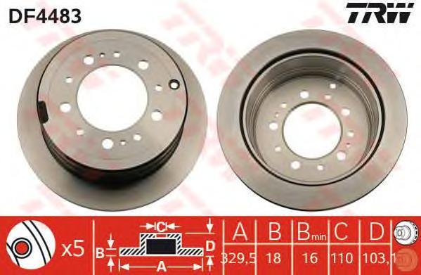 Диск тормозной TRW/Lucas DF4483 комплект 2 штDF4483