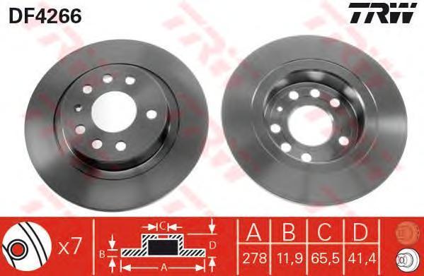 Диск тормозной TRW/Lucas DF4266 комплект 2 штDF4266