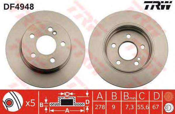 Диск тормозной к-т TRW/Lucas DF4948 комплект 2 штDF4948