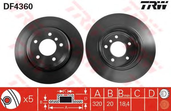 Диск тормозной TRW/Lucas DF4360 комплект 2 штDF4360