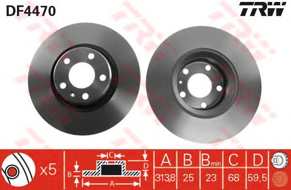 Диск тормозной TRW/Lucas DF4470 комплект 2 штDF4470