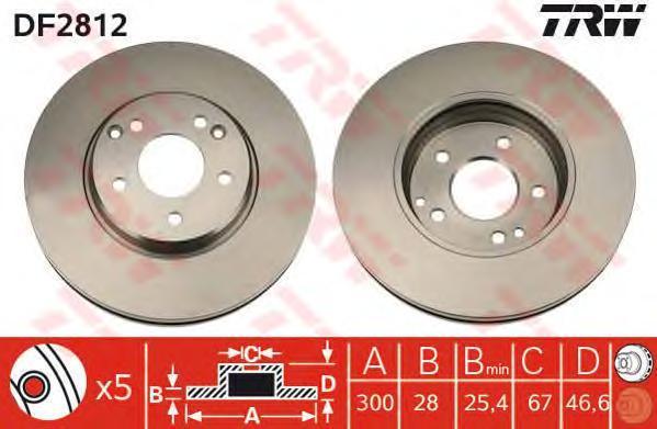 Диск тормозной TRW/Lucas DF2812 комплект 2 штDF2812