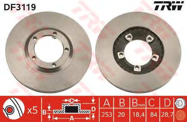 Диск тормозной TRW/Lucas DF3119 комплект 2 штDF3119