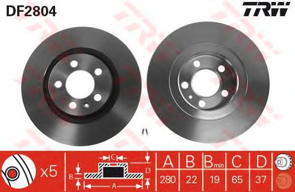 Диск тормозной TRW/Lucas DF2804 комплект 2 штDF2804