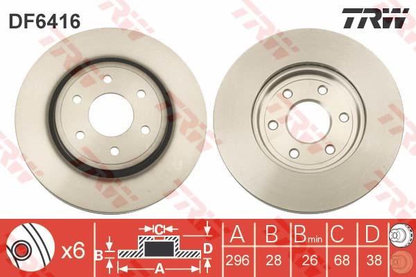 Диск тормозной передний TRW/Lucas DF6416 комплект 2 штDF6416