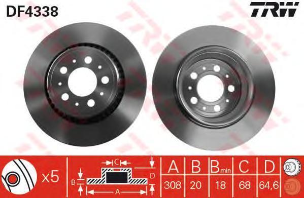 Диск тормозной TRW/Lucas DF4338 комплект 2 штDF4338