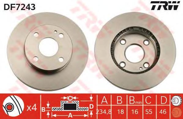 Диск тормозной TRW/Lucas DF7243 комплект 2 штDF7243