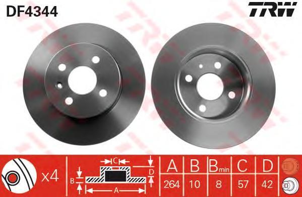 Диск тормозной TRW/Lucas DF4344 комплект 2 штDF4344