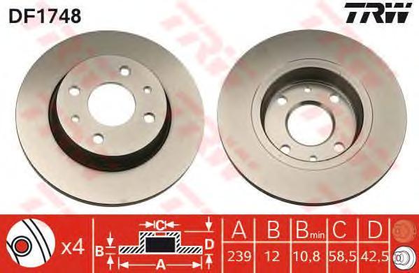 Диск тормозной TRW/Lucas DF1748 комплект 2 штDF1748