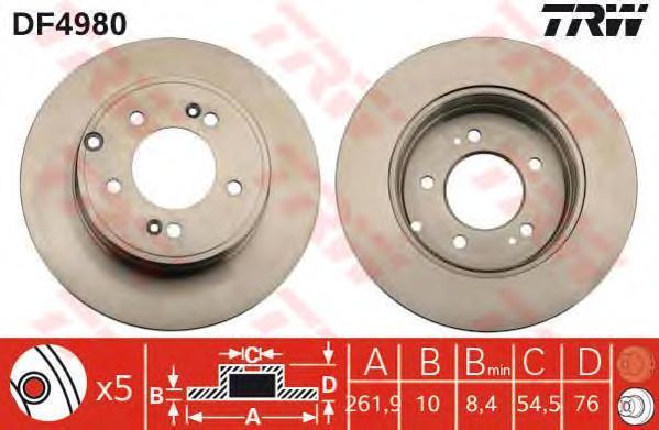 Диск тормозной к-т TRW/Lucas DF4980 комплект 2 штDF4980