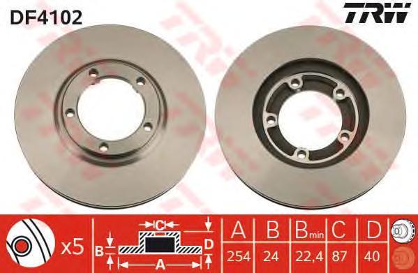 Диск тормозной TRW/Lucas DF4102 комплект 2 штDF4102
