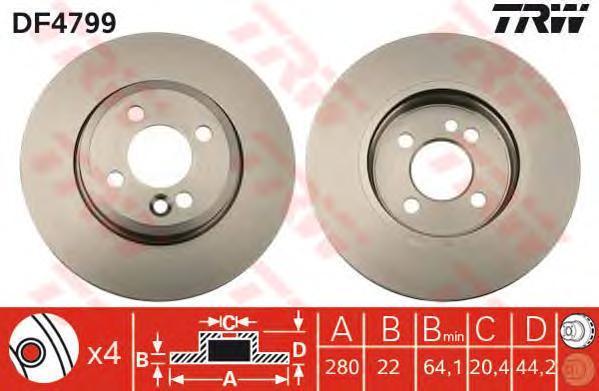 Диск тормозной TRW/Lucas DF4799 комплект 2 штDF4799