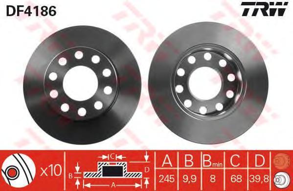 Диск тормозной TRW/Lucas DF4186 комплект 2 штDF4186